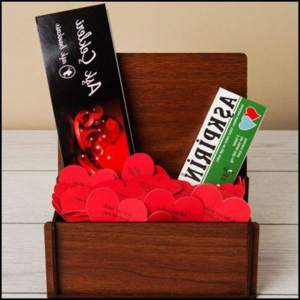 Sevgiliye Özel Aşk Bankası Ahşap Sandık Hediye Kutusu